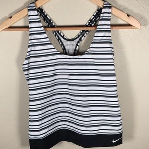Nike tank top striped embroidered logo racerback M